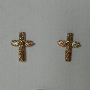 Whitaker's Black Hills Gold Pebble Textured Cross Earrings