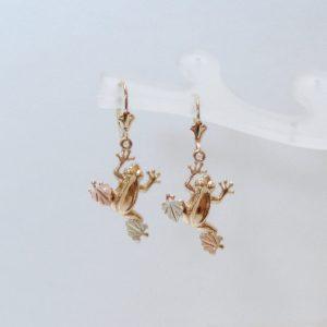 Whitaker's Black Hills Gold Frog Lever-back Earrings