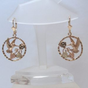 Whitaker's Black Hills Gold Hummingbird in a Circle Lever-back Earrings