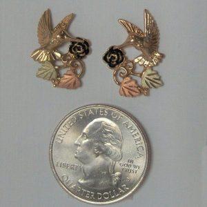 Whitaker's Black Hills Gold Hummingbird Post Earrings