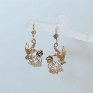 Whitaker's Black Hills Gold Hummingbird & Rose Dangle Earrings