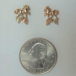 Whitaker's Black Hills Gold Micro Prancing Horse Earrings