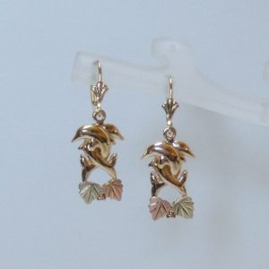 Whitaker's Black Hills Gold Entwined Dolphin Earrings