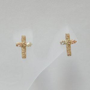 Whitaker's Black Hills Gold Pebble Cross Post Earrings