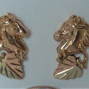 Whitaker's Black Hills Gold Horse Head w/ 12K Bi-color Leaf Earrings