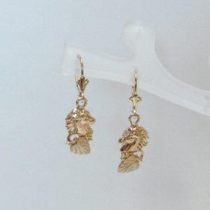 Whitaker's Black Hills Gold Horse Head Dangle Earrings