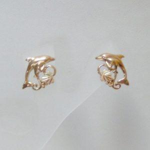 Whitaker's Black Hills Gold Dolphin Mom & Baby Earrings
