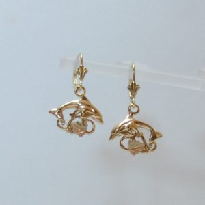 Whitaker's Black Hills Gold Dolphin Mother & Baby Dangle Earrings