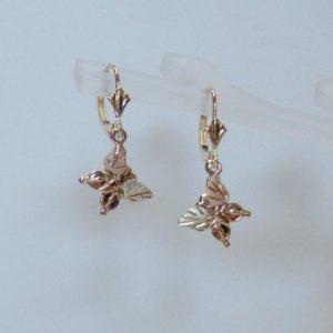 Whitaker's Black Hills Gold Butterfly Dangle Earrings