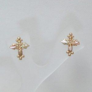Whitaker's Black Hills Gold Knobby Cross Earrings
