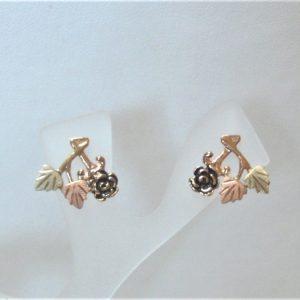 Whitaker's Black Hills Gold Antiqued Rose & Leaves Earrings