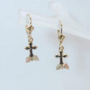 Whitaker's Black Hills Gold Antiqued Cross Dangle Earrings