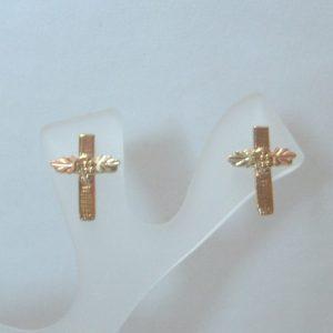 Whitaker's Black Hills Gold Linen Textured Cross Earrings