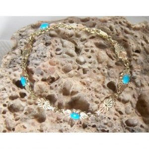 Whitaker's 10K Black Hills Gold Natural Sleeping Beauty Turquoise Bracelet