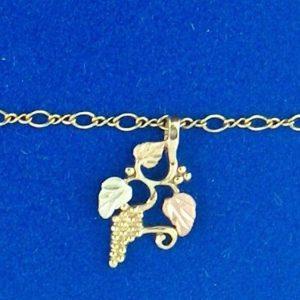 "Whitaker's Black Hills Gold 11"" Traditional Grape Cluster Ankle Bracelet"