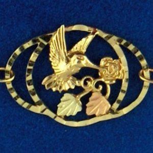 """Whitaker's Black Hills Gold 11"""" Hummingbird Ankle Bracelet"""