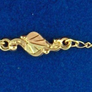 """Whitaker's Black Hills Gold 11"""" Ankle Bracelet with 12K Leaf"""