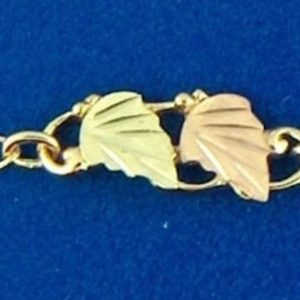 """Whitaker's Black Hills Gold 11"""" Curved Leaf Ankle Bracelet"""