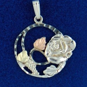 Whitaker's Black Hills Gold on Silver Rose in a Circle Pendant
