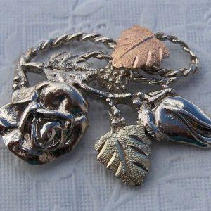 Whitaker's Black Hills Gold on Silver Rose & Bud Slide Pendant