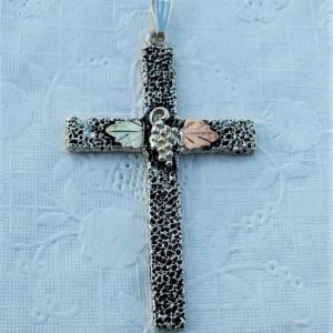 Whitaker's Black Hills Gold on Silver Large Antiqued Pebbly Textured Cross Pendant