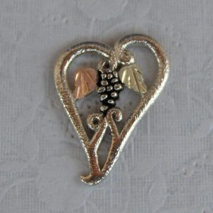 Whitaker's Black Hills Gold on Silver Small Floating Heart Pendant