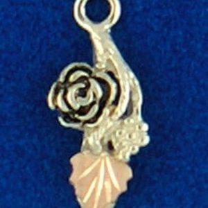Whitaker's Black Hills Gold on Silver Antiqued Rose with 10K Rose Gold Leaf Pendant