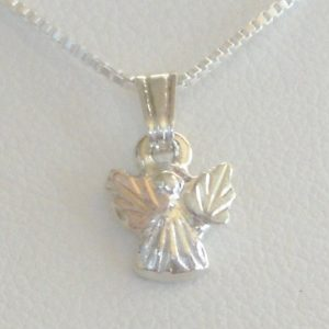 Whitaker's Black Hills Gold on Silver Micro Angel Pendant