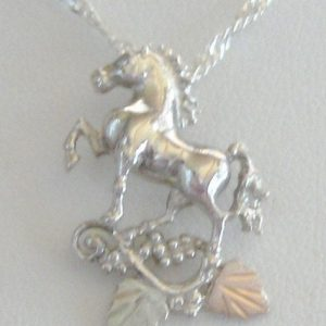 Whitaker's Black Hills Gold on Silver Stepping Horse Pendant