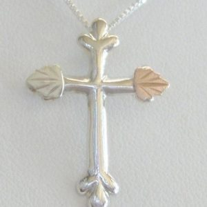 Whitaker's Black Hills Gold on Silver Smooth Cross Pendant