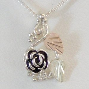 Whitaker's Black Hills Gold on Silver Pretty Antiqued Rose Pendant