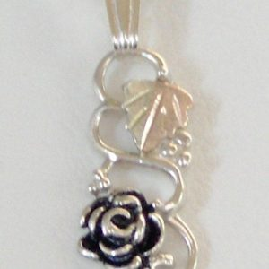 Whitaker's Black Hills Gold on Silver Antiqued Long Rose Pendant