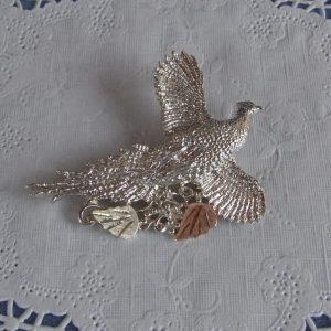Whitaker's Black Hills Gold on Silver Pheasant Slide Pendant