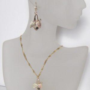 Whitaker's Black Hills Gold Traditional Pendant & Earring Set with Black Diamonds