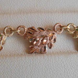 Whitaker's Black Hills Gold 10K Small Oak Leaf Bracelet