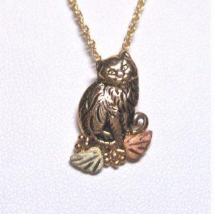Whitaker's Black Hills Gold Antiqued Kitty Pendant