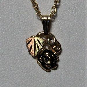 Whitaker's Black Hills Gold Antiqued Rose Pendant