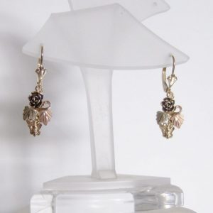 Whitaker's Black Hills Gold Butterfly & Rose Dangle Earrings