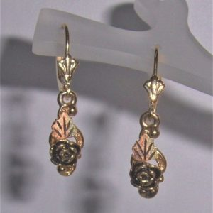 Whitaker's Black Hills Gold Antiqued Rose Dangle Earrings