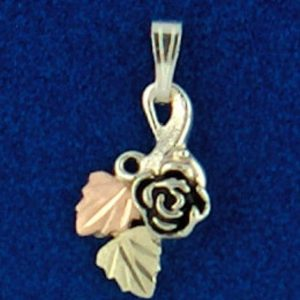 Whitaker's Black Hills Gold on Silver Cute Rose Pendant