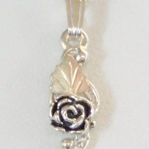 Whitaker's Black Hills Gold on Silver Cute Little Antiqued Rose Pendant