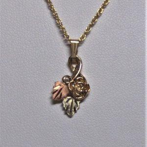 Whitaker's Black Hills Gold Cute Yellow Rose Pendant