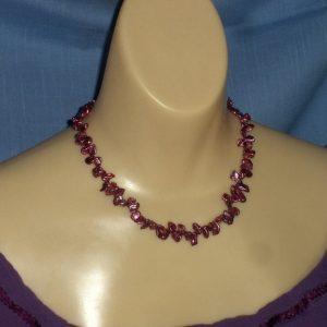 Purple Freshwater Petal Pearl Necklace