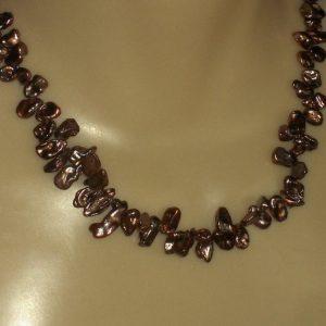 Purplish Bronze Freshwater Petal Pearl Bead Necklace