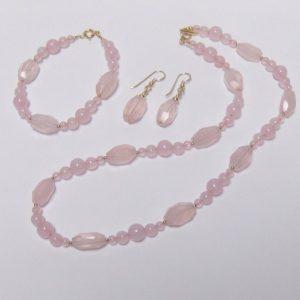 Rose Quartz Bead Necklace, Earring & Bracelet Set