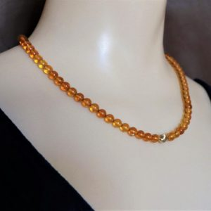 14K Gold & Natural Amber Bead Necklace