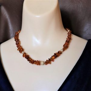 Baltic Amber Chip & Stardust Bead Necklace