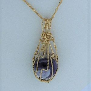 14K Gold-filled Wire Wrapped Amethyst Ball Pendant