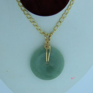 14K Gold-filled Wire Wrapped Natural Green Jadeite Doughnut Pendant