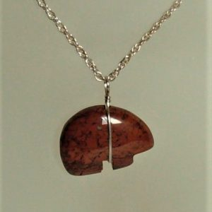 Red Jasper Zuni Bear Pendant with Sterling Silver Wire Wrap
